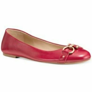Coach Red Alice Gold-Tone Hardware Flats Size 6